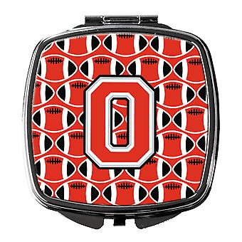 Letter O Football Scarlet and Grey Compact Mirror