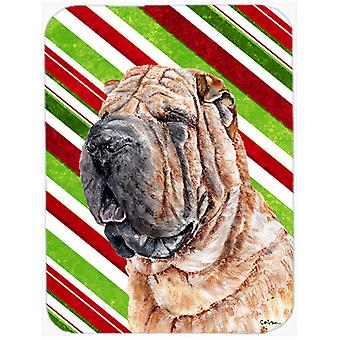 Shar Pei Candy Cane Christmas Glass Cutting Board Large Size