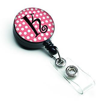 Monograma de la letra K - carrete de gafete retráctil rosa topos negros