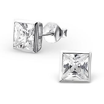 Square - 925 Sterling Silver Classic Ear Studs - W18400X