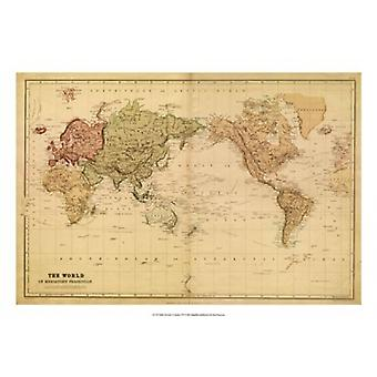 Map of the World c1800s (mercator projection) Poster Print by Vision studio (26 x 18)