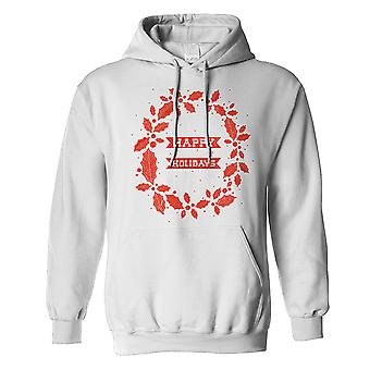 The T-Shirt Factory Mens Happy Holidays Holly Hoodie