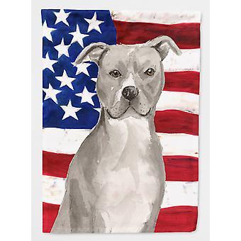 Staffordshire Bull Terrier patriótica bandeira lona casa tamanho