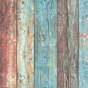 Wood Effect Boards Planks Wallpaper Paste The Wall Vinyl AS Creation Colourful