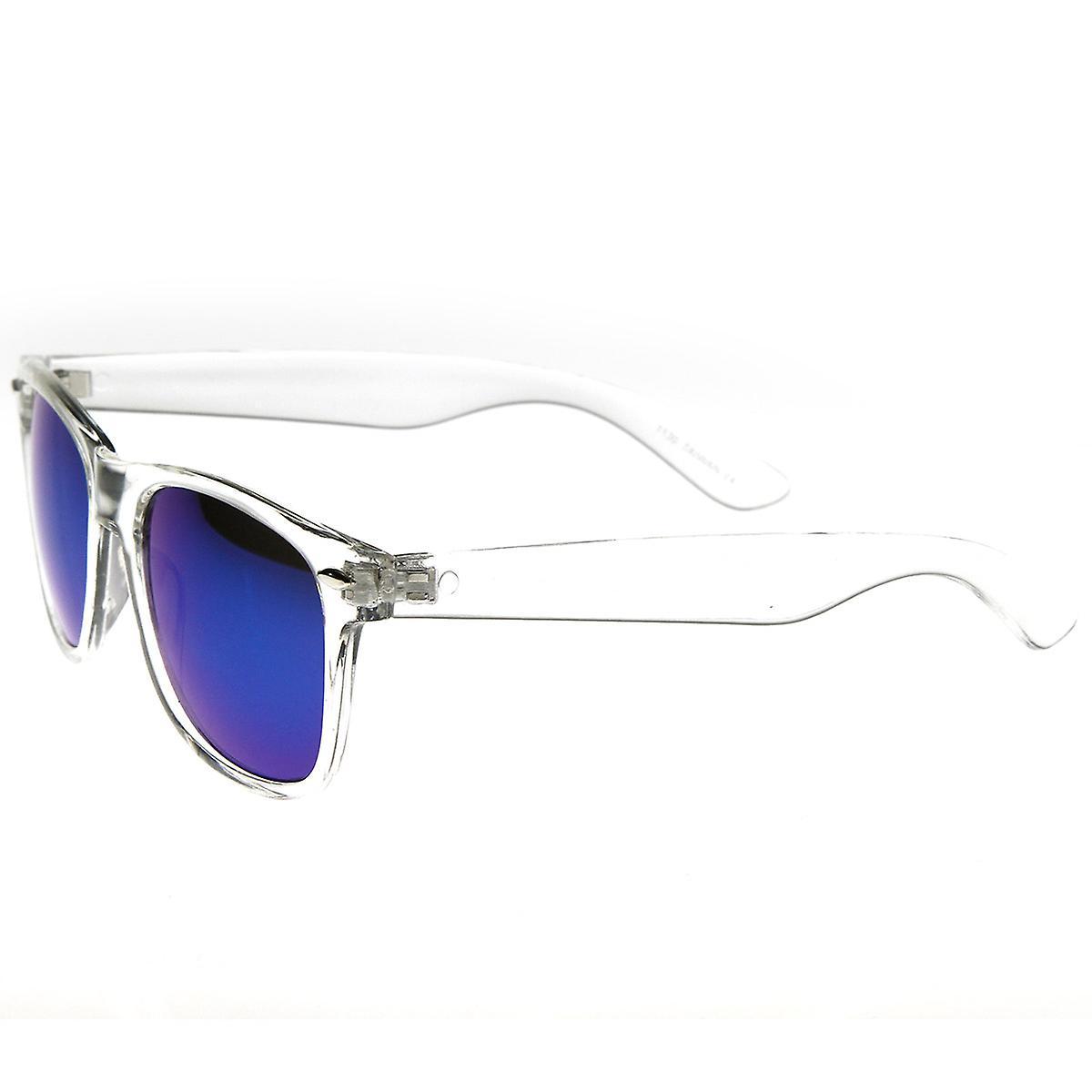 Flat Matte Reflective Revo Color Lens Large Horn Rimmed Style Sunglasses