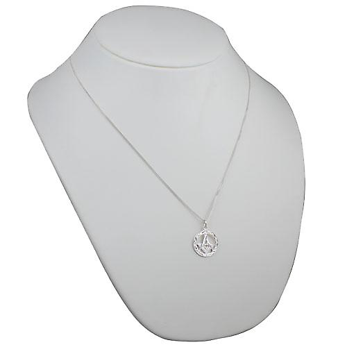 Silver 21mm hand engraved Masonic emblem in a circle with G Pendant on a curb Chain 22 inches