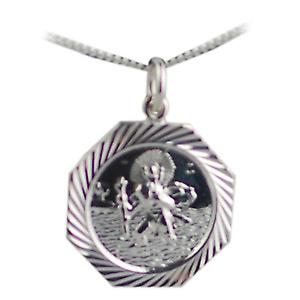 Silver 21x21mm hexagonal diamond cut edge St Christopher Pendant with a curb Chain 24 inches