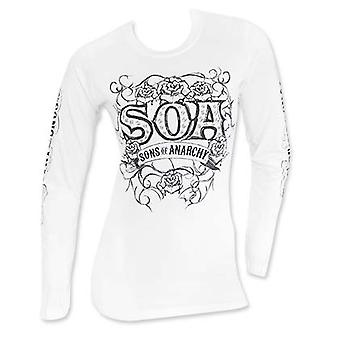 Sons Of Anarchy Tribal Long Sleeve Ladies White Tee Shirt