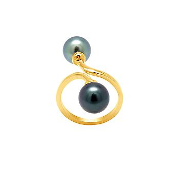 Ring Double pearls of Tahiti and yellow gold 750/1000