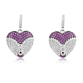 Örhängen Hjärta Silver 925 och 218 kristaller Swarovski Zirconia vita och rosor
