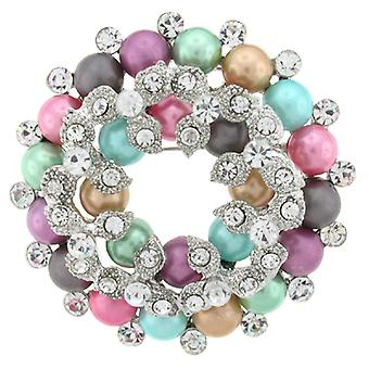 Brooches Store Multicoloured Pastel Pearls & Crystal Wreath Brooch