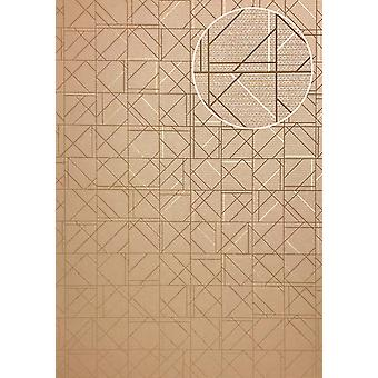 Graphic wallpaper ATLAS XPL-591-3 non-woven wallpaper structures with geometric shapes shiny beige light brown brown beige gold 5.33 m2