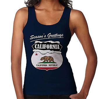 Seasons Greetings California State Flag Christmas Women's Vest