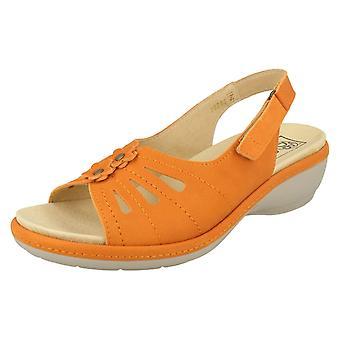 Ladies Easy B Slingback Sandals Fallon - Orange Leather - UK Size 4 2E/4E - EU Size 36.5 - US Size 6