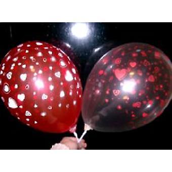 Balloner hjerter rød og creme krystal 12