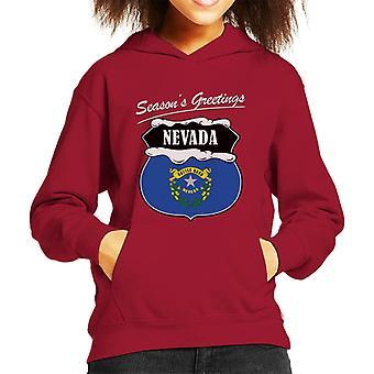 Seasons Greeting Nevada Kid's Hooded Sweatshirt