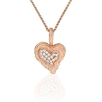 Orphelia Silver 925 Chain With Pendant Heart Rosegold Plated Zirconium  ZH-7082/1