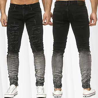 Men's Destroyed Jeans Pants Biker Progress Faded Ombré Denim Dark Light