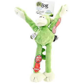 goDog Crazy Tugs Monkey with Chew Guard Large-Lime