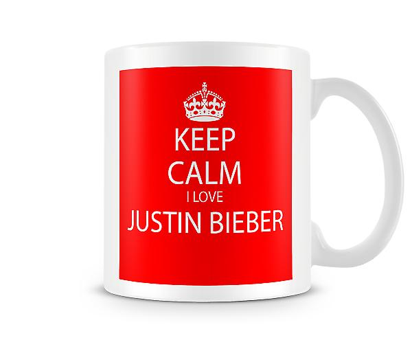 Keep Calm I Love Justin Bieber Printed Mug