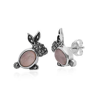 Gemondo Sterling Silver 1.58ct Rose Quartz & 0.27ct Marcasite Rabbit Earrings