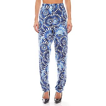 sheego Ladies Jersey trousers floral pattern blue