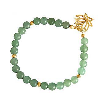 Damen - Armband - 925 Silber - Vergoldet - Lotus Blume - Aventurin - Grün - YOGA