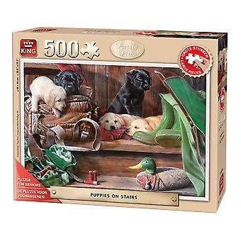 King Puppies On The Stairs Jigsaw Puzzle (500 XL Pieces)