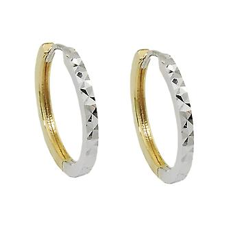 Creole 17x2mm flap hinge bicolor 9Kt GOLD with white gold diamantiert