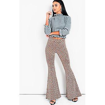 IKRUSH Womens Cindy High Waist Printed Flare Trousers