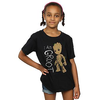 Marvel Girls Guardians Of The Galaxy I Am Groot Scribbles T-Shirt