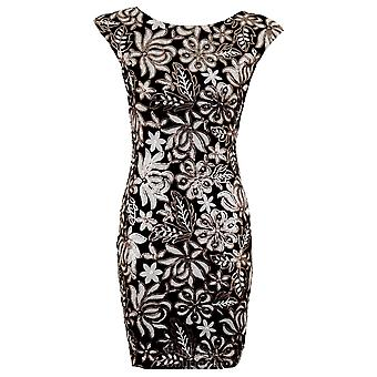 Ladies Celeb Grey Black Sequin Floral Pattern Sexy Bodycon Women's Party Dress
