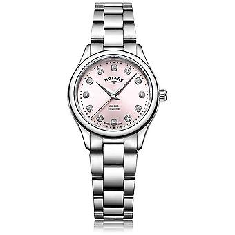 Rotary Womens Oxford Diamond Pink Dial Stainless Steel Bracelet LB05092/07/D Watch