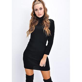 Turtleneck Knit Bodycon Jumper Dress Black
