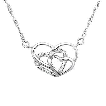 Triple Heart - 925 Sterling Silver Jewelled Necklaces - W23195X