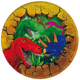 Teller Partyteller Plate Dinosaurier Dinoparty Kindergeburtstag Durchmesser 18cm 6 Stück