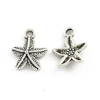 Packet 50+ Antique Silver Tibetan 16mm Starfish Charm/Pendant ZX16000