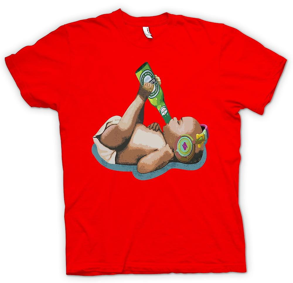 Mens T-shirt - Baby Drinking Beer With Headphones On