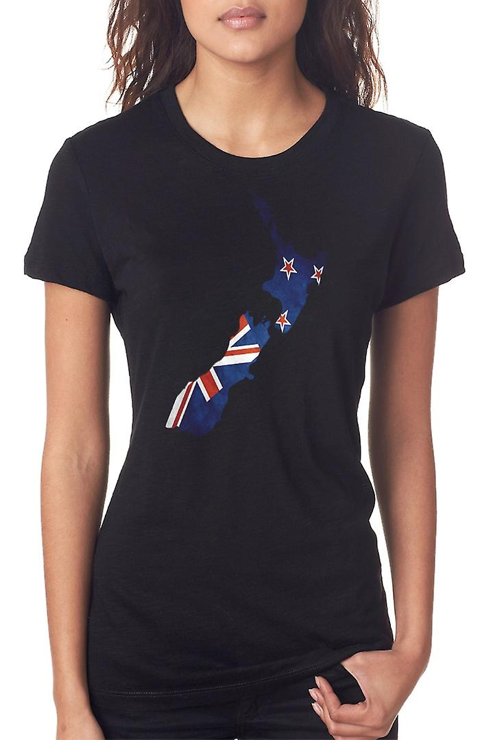 New Zealand Kiwi Flag Map Ladies T Shirt