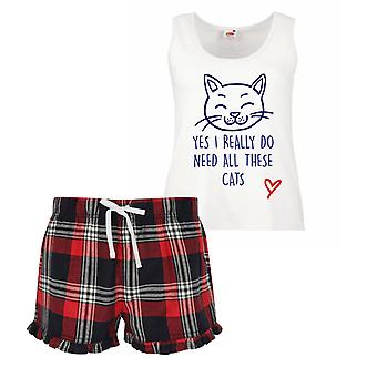 Yes I Really Do Need All These Cats Cat Ladies Tartan Frill Short Pyjama Set Red Blue or Green Blue