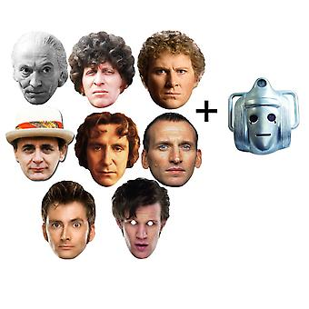 The Doctors - Doctor Who 50th Anniversary Card Face Masks set of 9 (includes bonus Classic Cyberman mask)