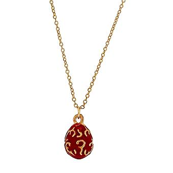 TOC Red Faberge-Style Egg Pendant Necklace 18