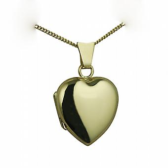 18ct Gold 17x16mm plain heart shaped Locket with a curb Chain 20 inches