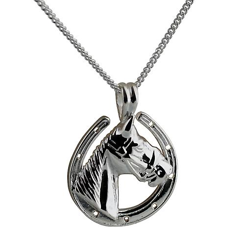 Silver 22x20mm Horse Head in Horseshoe Pendant with a curb Chain 20 inches