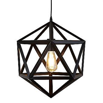 Voyager Matt Black geométrica única lámpara colgante - reflector 5701BK