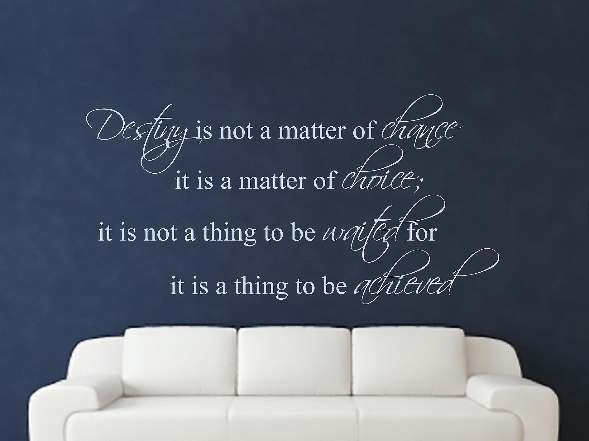 Destiny Is Not A Matter of Chance Wall Art Sticker - Pastel Blue