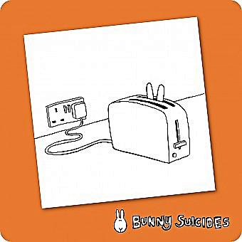 Bunny Suicides Death By Toaster single funny drinks coaster  (hb)