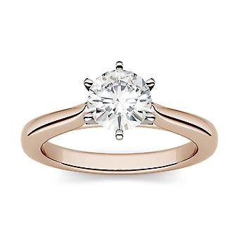14 K złota róża Moissanite przez Charles idealna Colvard 6,5 mm okrągły pierścionek zaręczynowy, 1,00 ct rosy