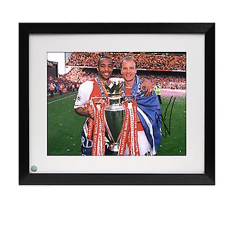 Framed Dennis Bergkamp Signed Arsenal Photo: With Thierry Henry