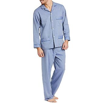 British Boxers Garrison Blue Herringbone Men's Pyjama Set